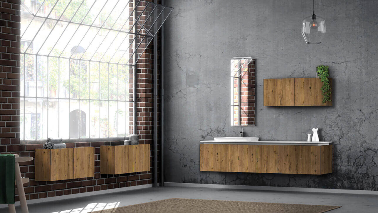 mobile bagno merati effetto legno
