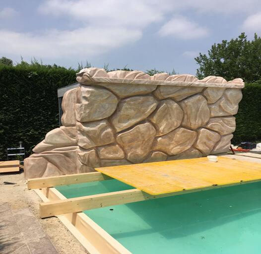 4 Roccia polistirolo piscina pitturata